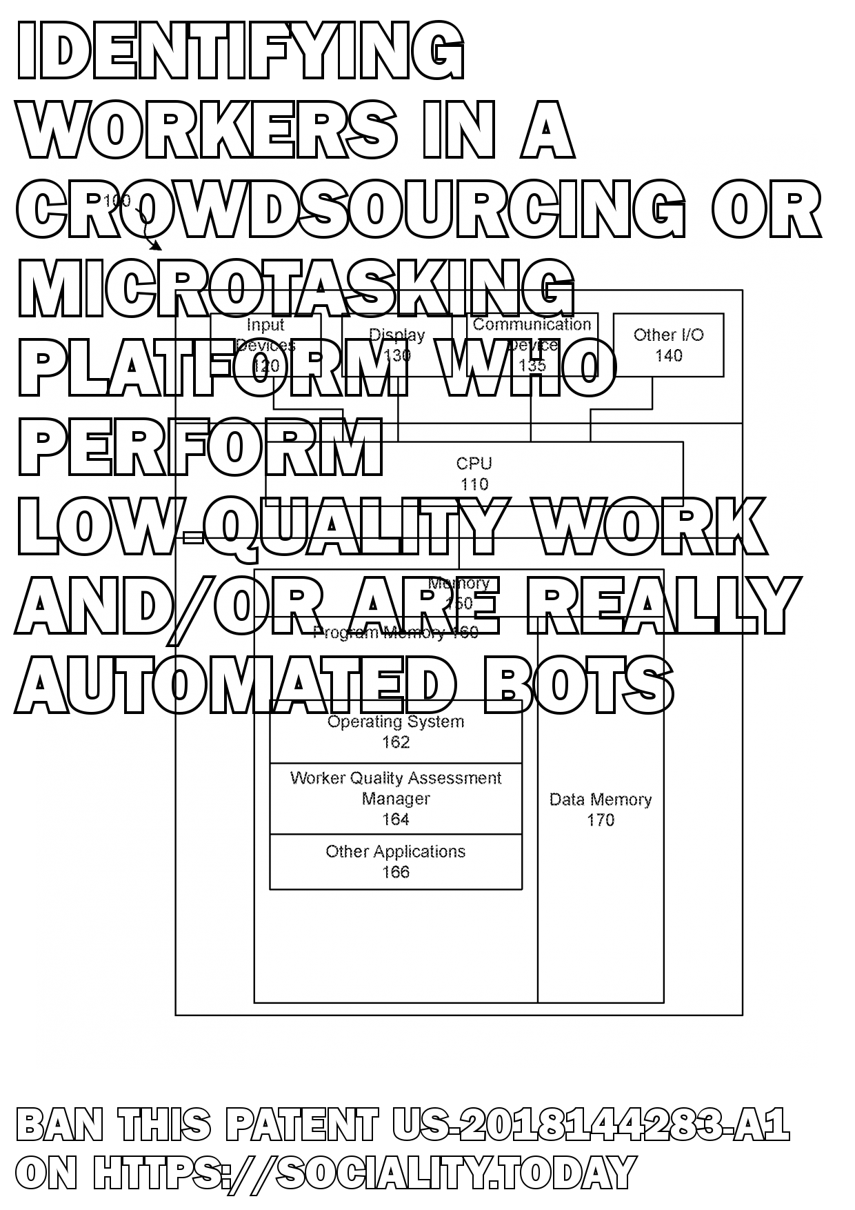 Identifying workers in a crowdsourcing or microtasking platform who perform low-quality work and/or are really automated bots  - US-2018144283-A1