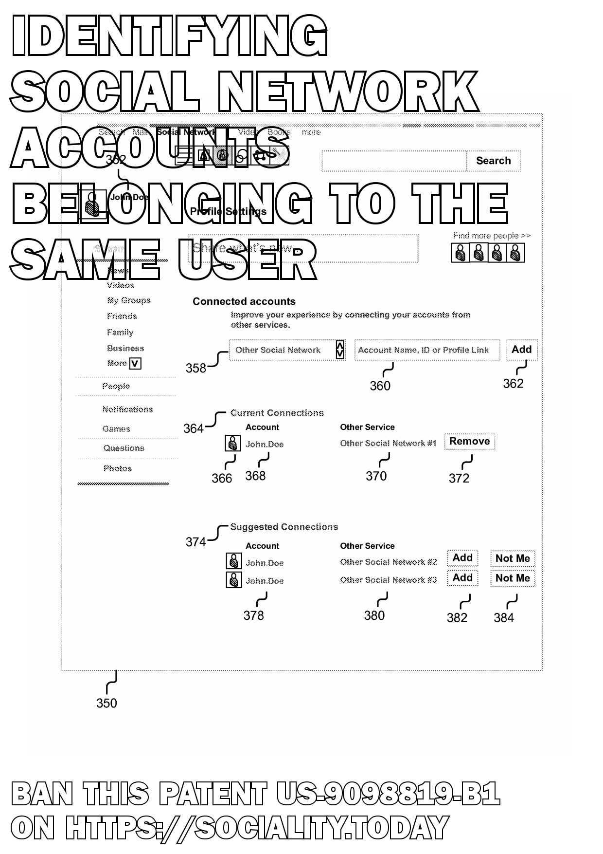 Identifying social network accounts belonging to the same user  - US-9098819-B1