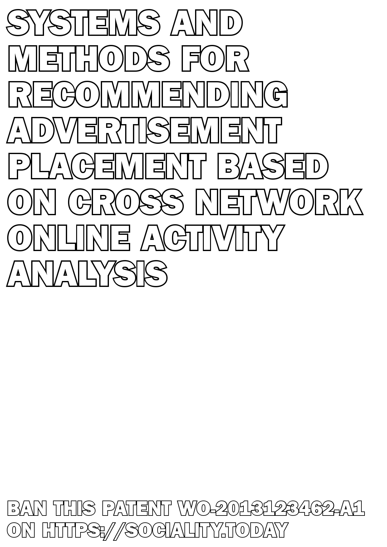 Systems and methods for recommending advertisement placement based on cross network online activity analysis  - WO-2013123462-A1
