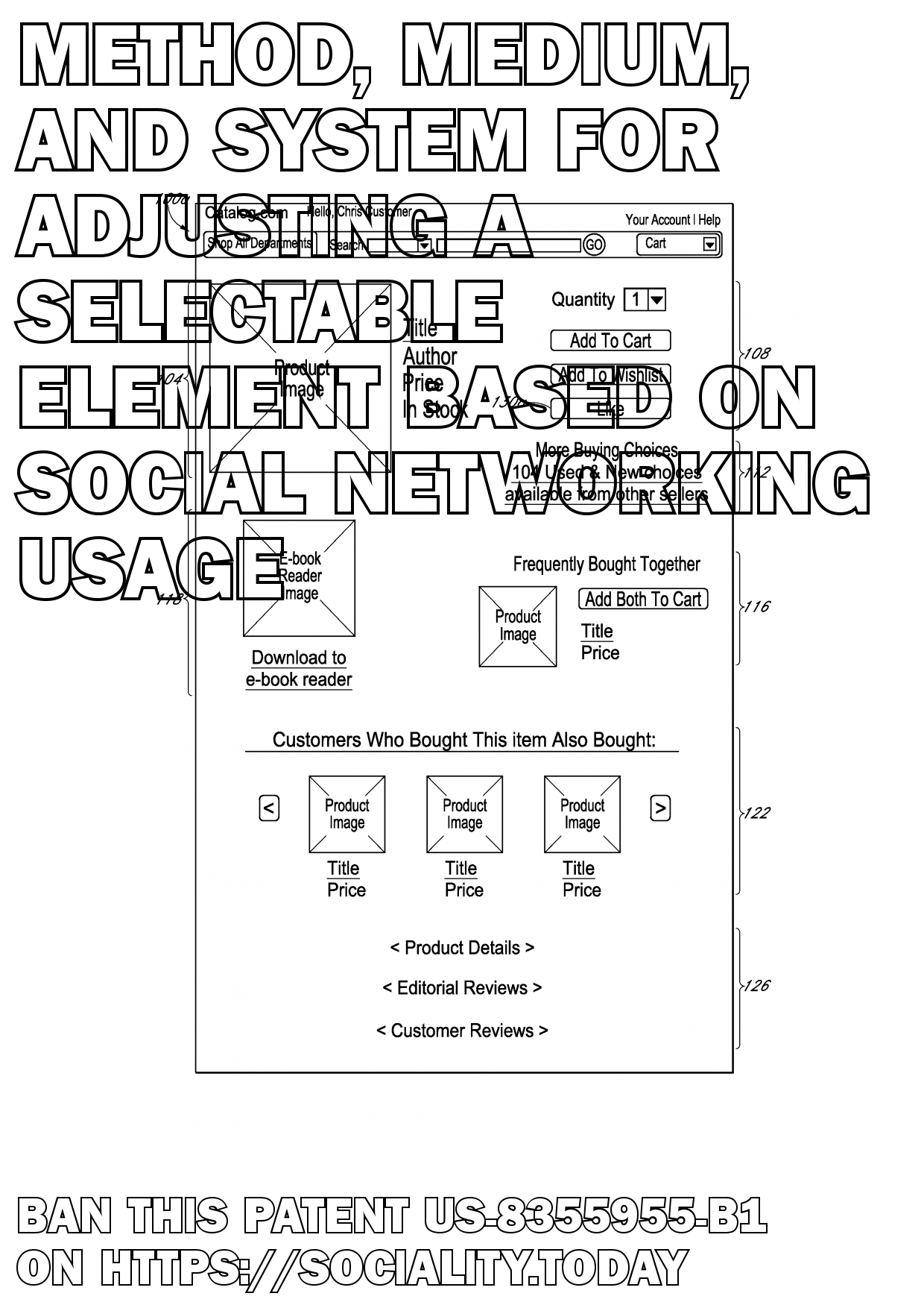 Method, medium, and system for adjusting a selectable element based on social networking usage  - US-8355955-B1